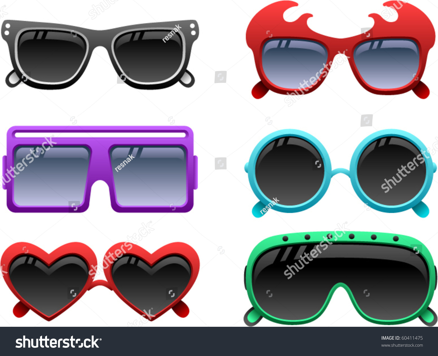 funky glasses  Vector Funky Sunglasses Icons Set 1 Stock Vector 60411475 ...