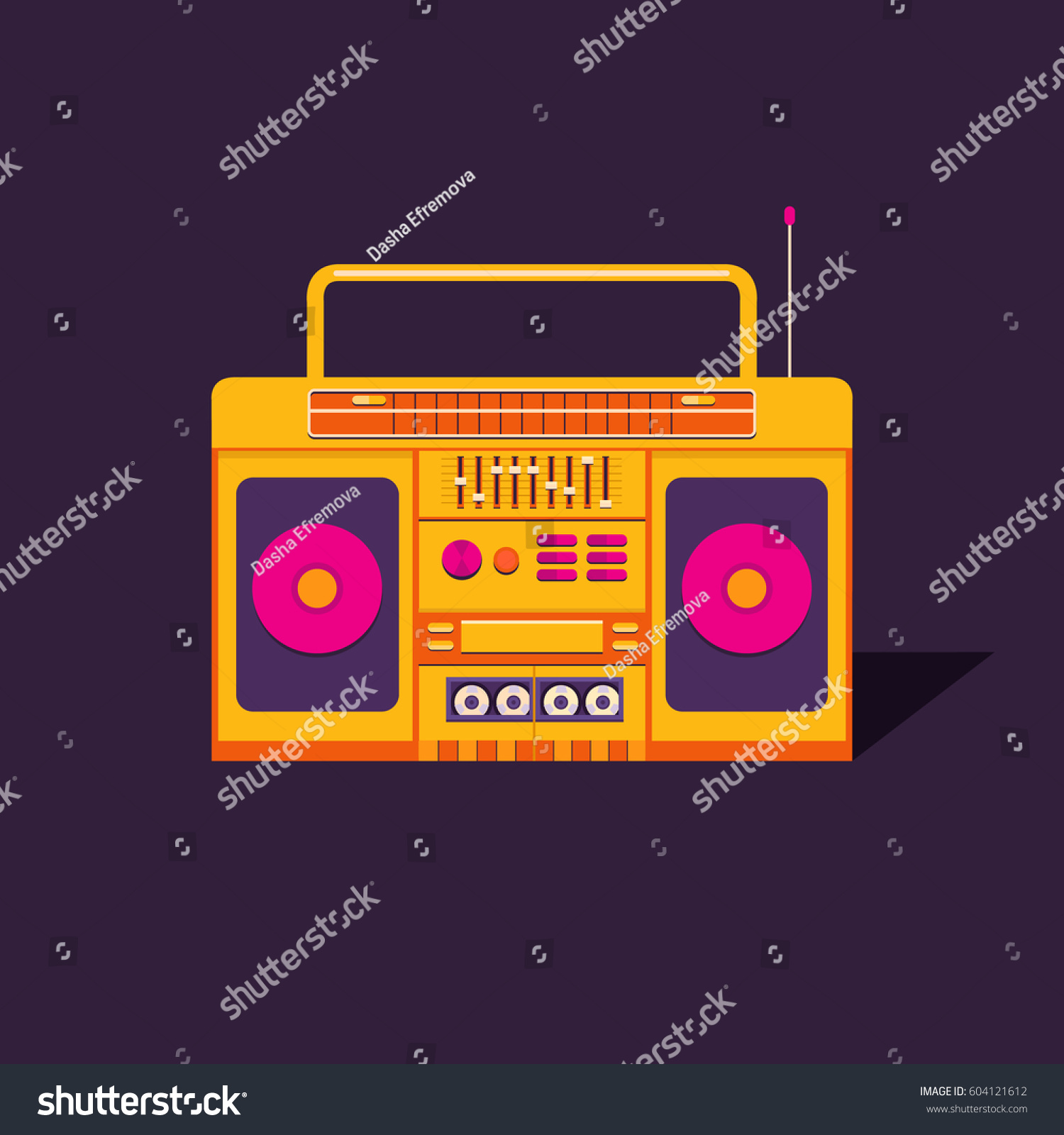 Illustration Vintage Cassette Tape Recorder Nostalgia Stock Vector 604121612 - Shutterstock