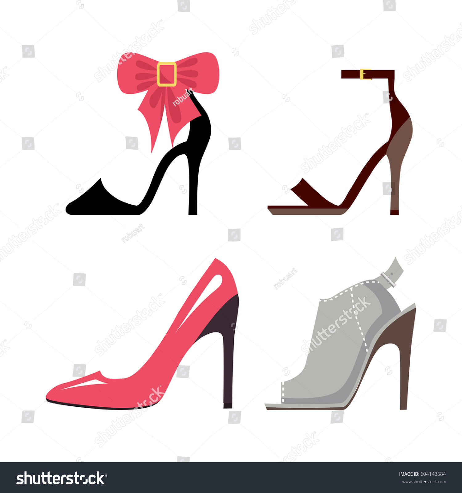 Women Highheeled Shoes Collection Stylish Hoe Stock Vector Royalty