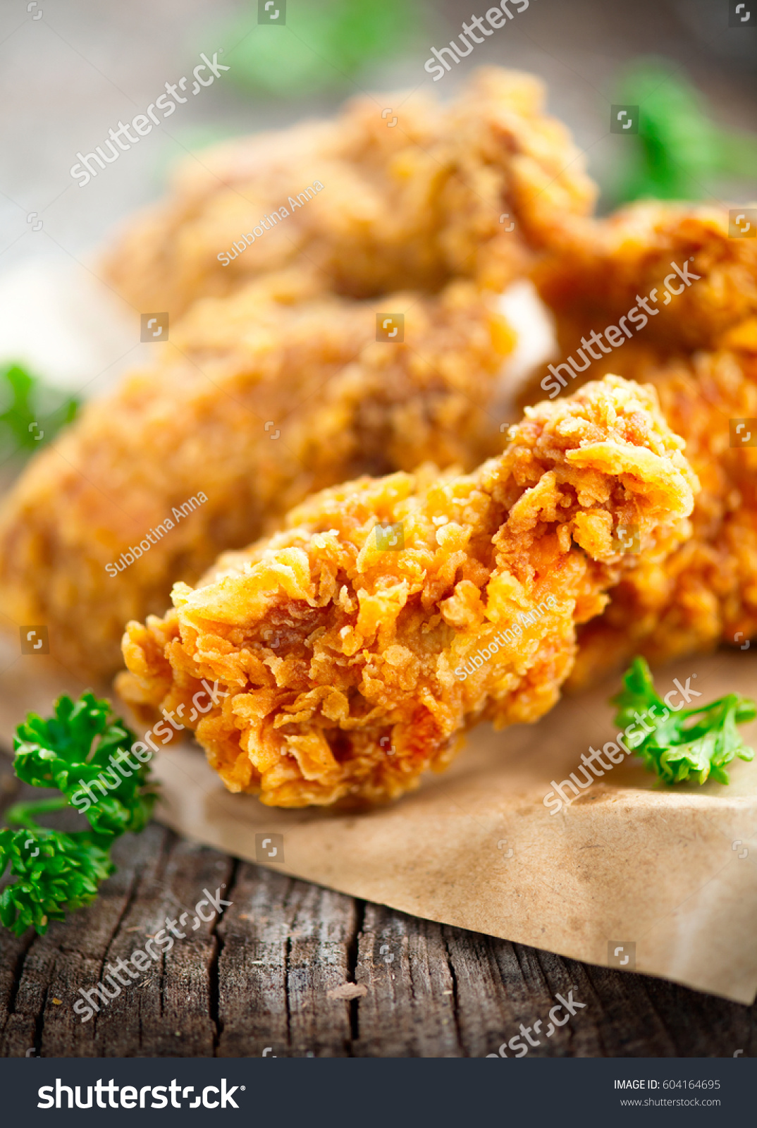 Fried Chicken Wings On Wooden Table Stock Photo Edit Now