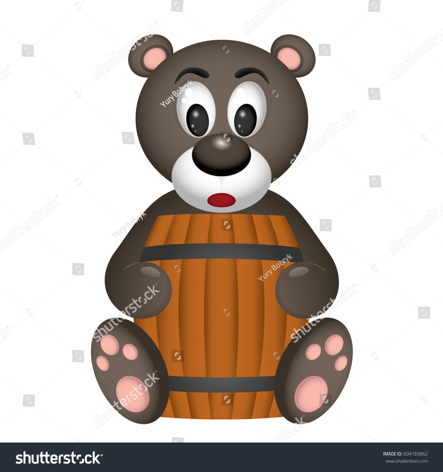 Cute Bear Sits With Barrel Of Honey And Spoon Stock Vector - Illustration  of spoonnvector, book: 106725019