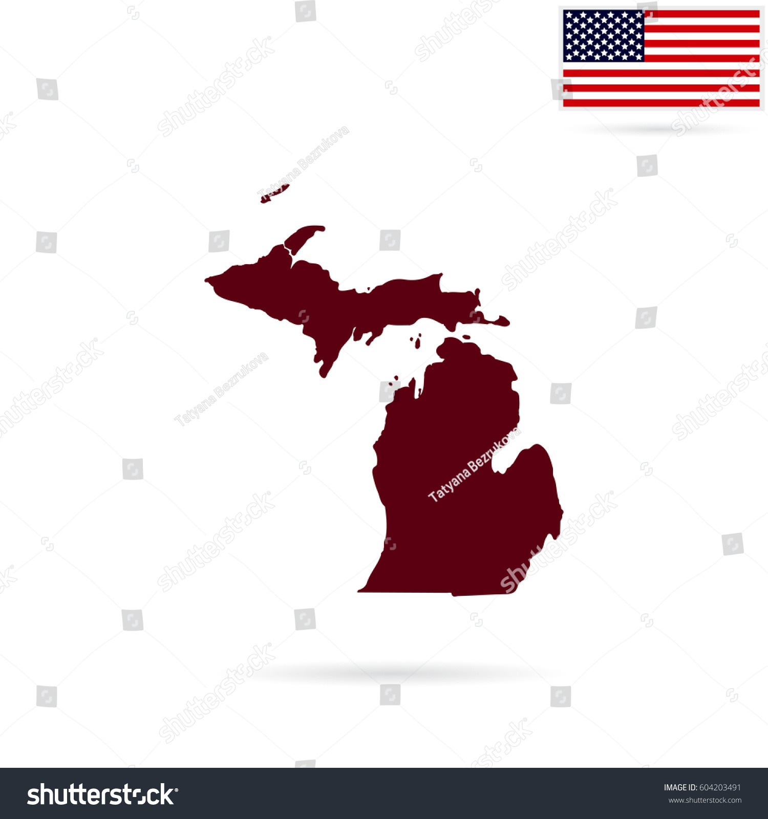 Map Us State Michigan On White Stock Vector Shutterstock - Us map all white red background