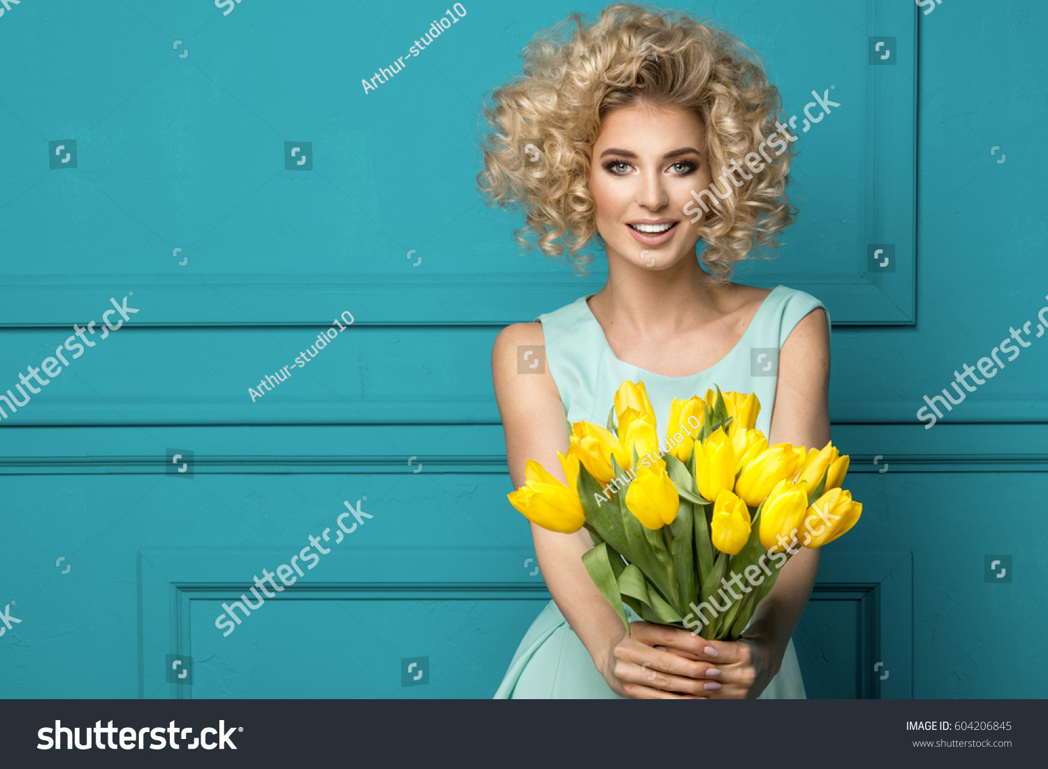 Beautiful Blonde Girl Blue Dress Flowers Stock Photo Royalty Free