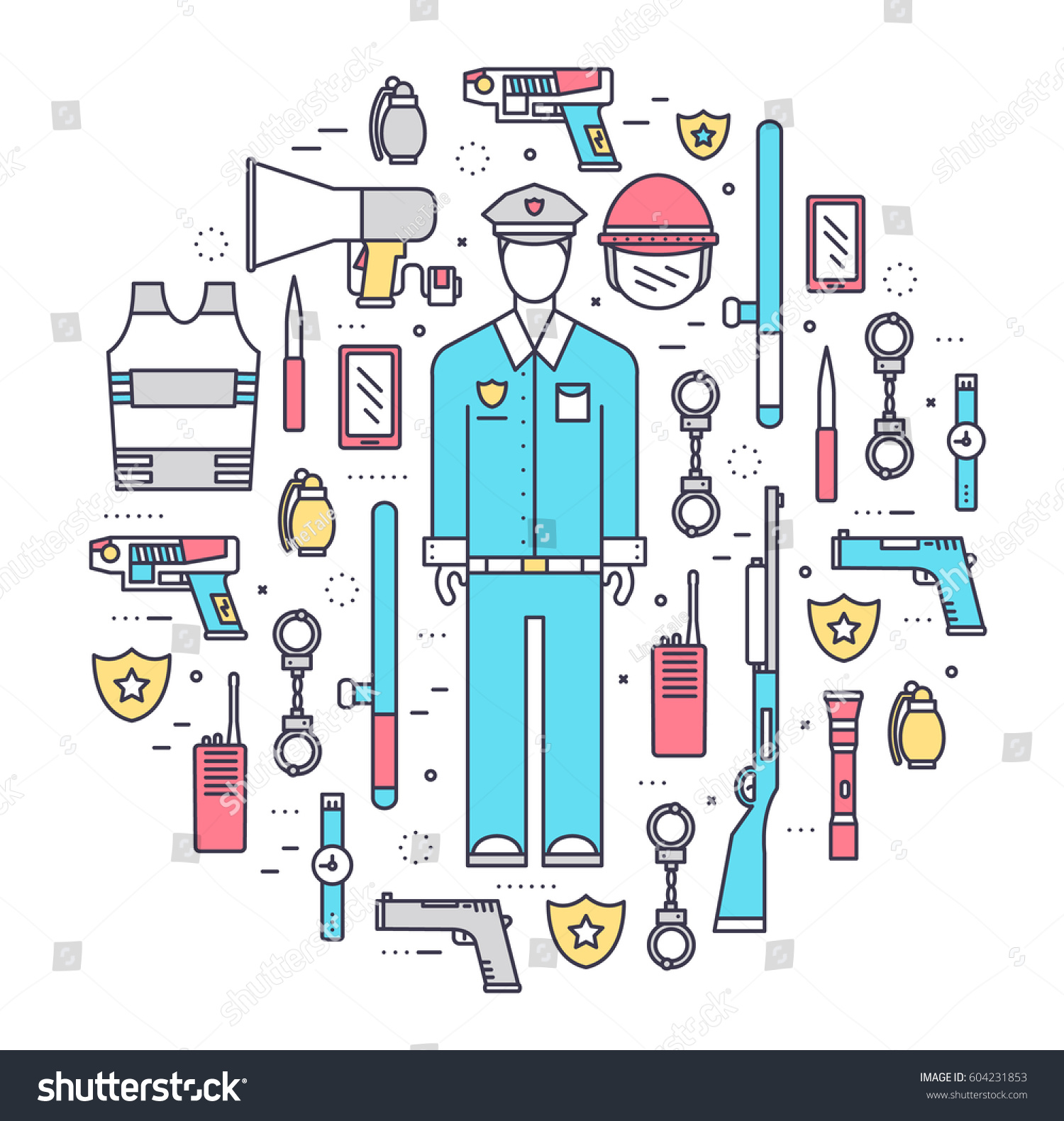 Military Police Uniform Thin Line Icons Stock Vector Royalty Free Electronic Stethoscope Circuit Diagrams Schematics