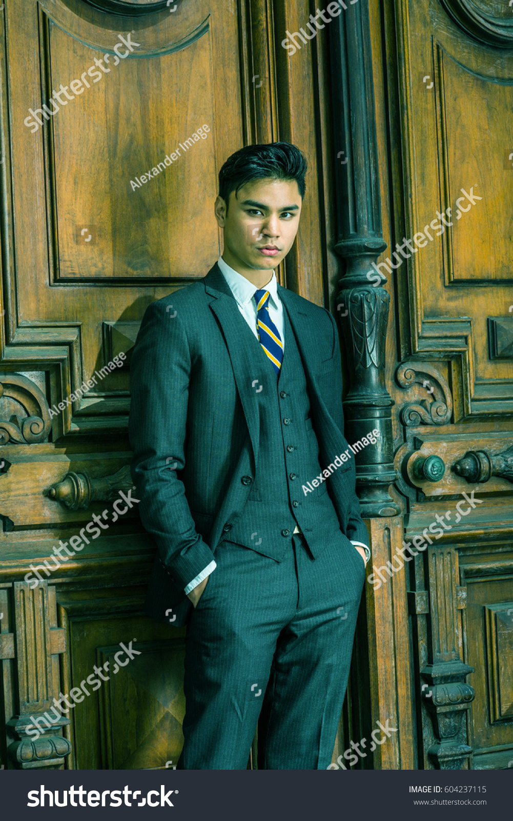 Young Handsome Asian American Businessman Wearing Stock Photo ...