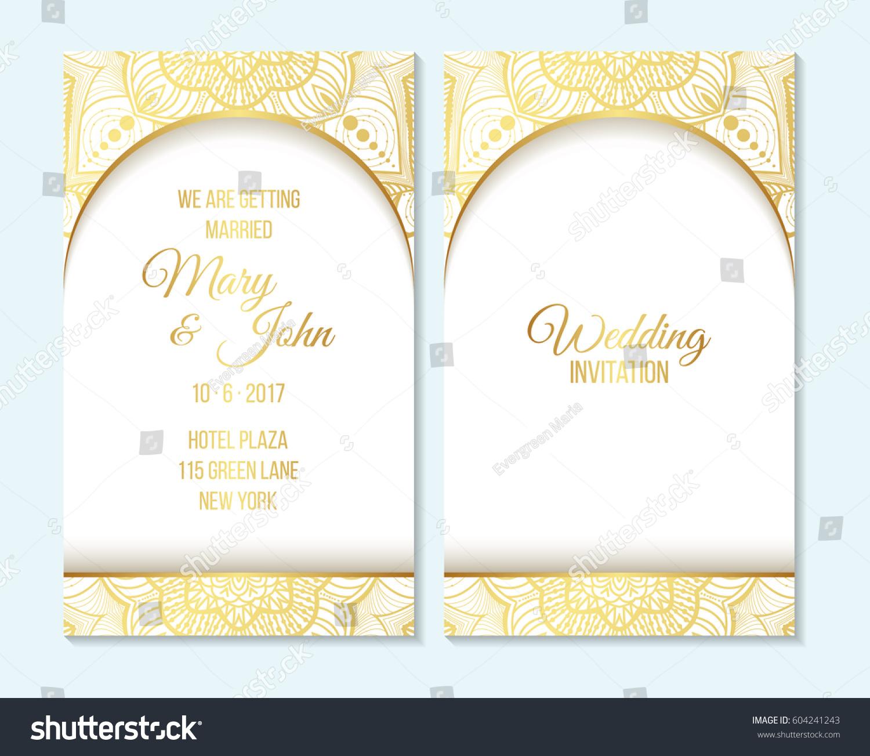 Wedding Invitation Thank You Card Save Stock Vector