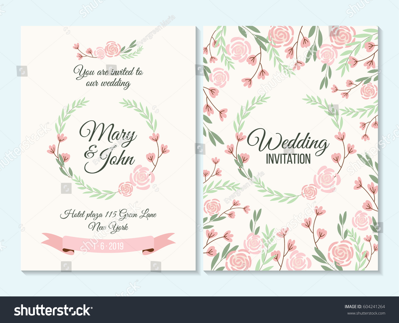pink green pastel wedding invitation thank stock vector royalty