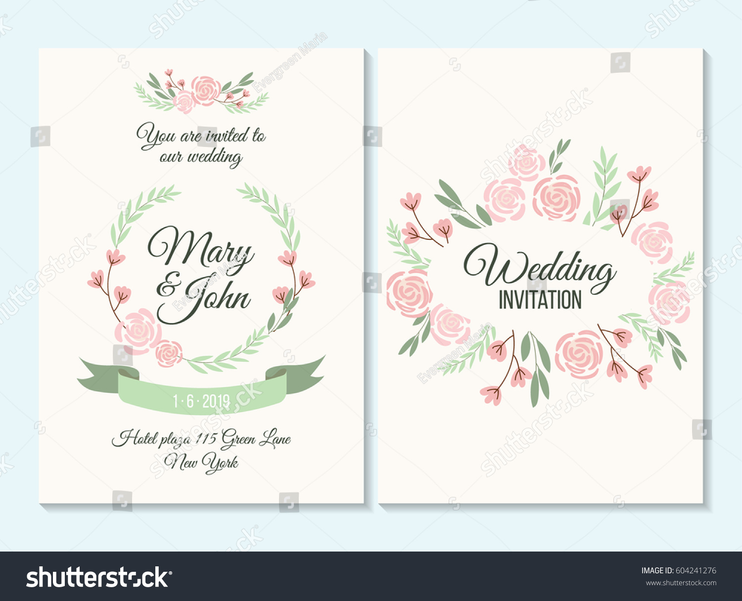 Pink Green Pastel Wedding Invitation Thank Stock Photo (Photo ...