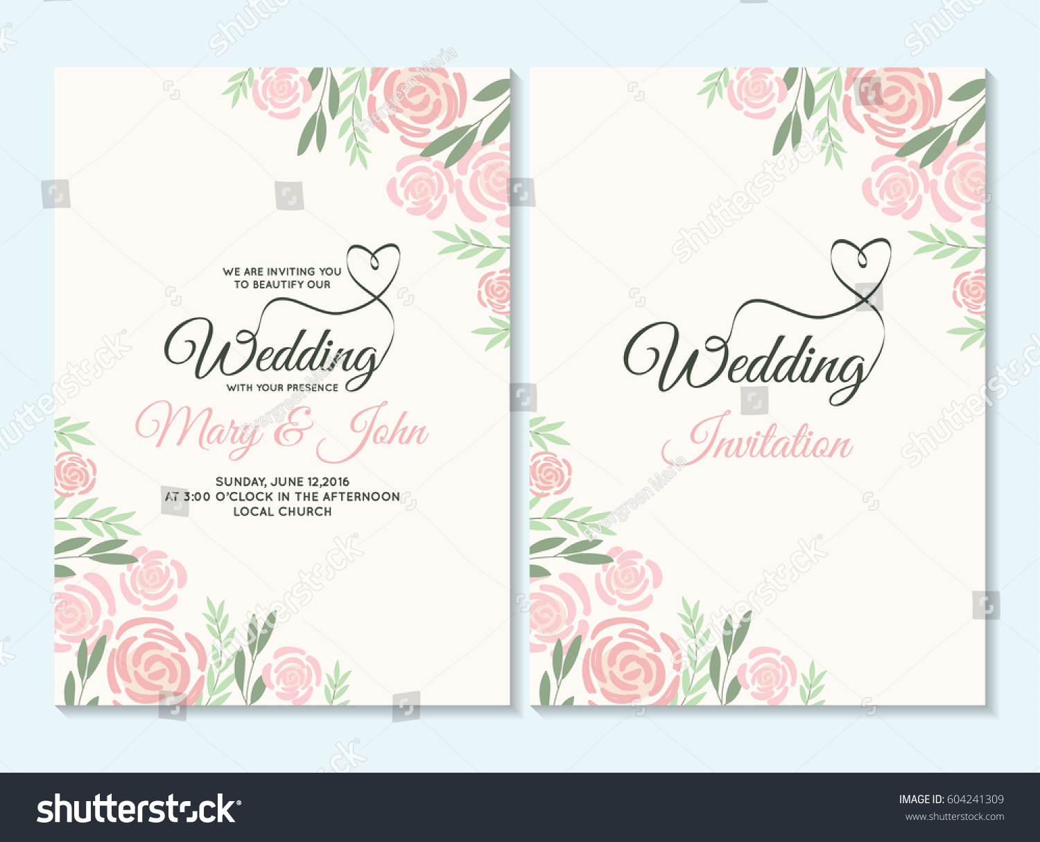 Pink Green Pastel Wedding Invitation Thank Stock Vector (2018 ...
