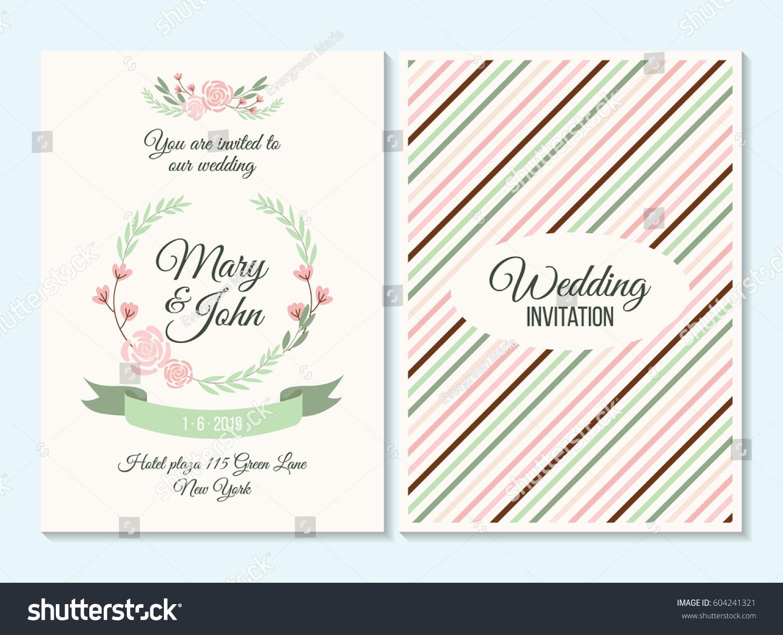 Pink Green Pastel Wedding Invitation Thank Stock Vector 604241321 ...