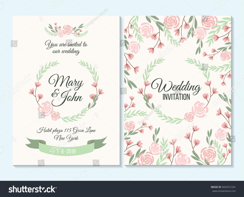 Pink Green Pastel Wedding Invitation Thank Stock Vector 604241324 ...