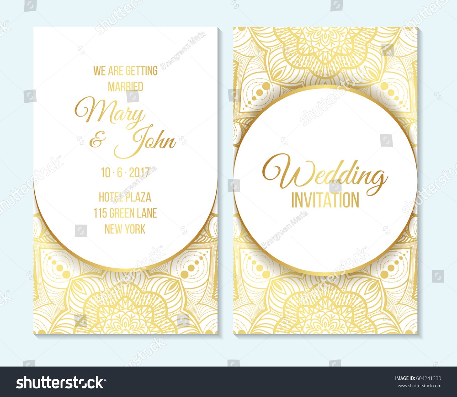 Wedding Invitation Thank You Card Save Stock Vector