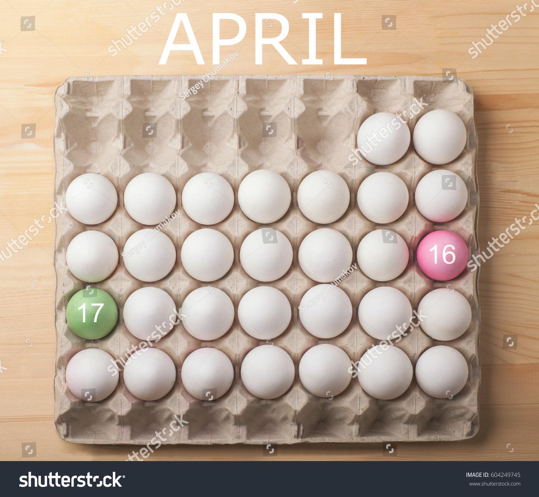 Easter Calendar April 2017 White Eggs Stock Photo Edit Now