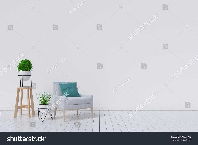 Living Room Gray Fabric Armchair Plants Stock Illustration 604253012 ...