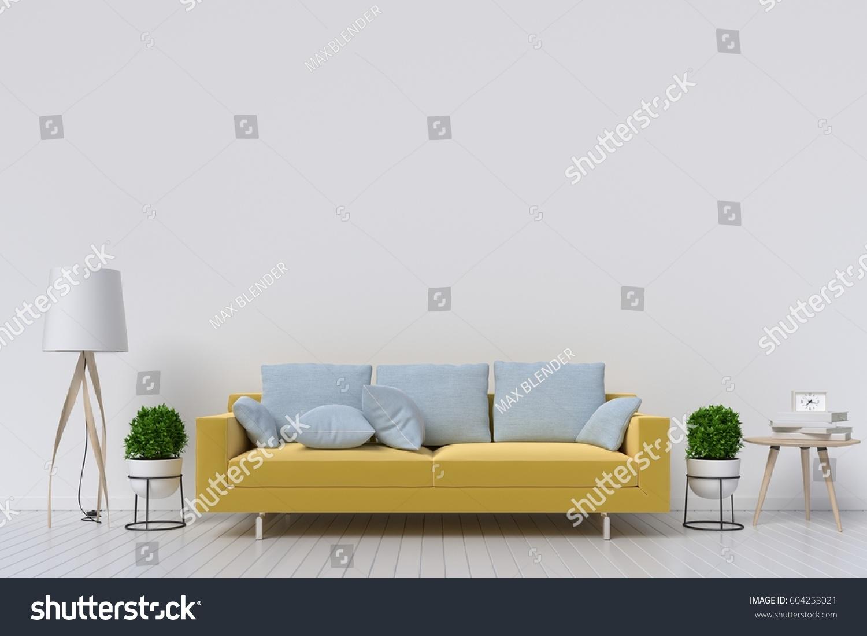 White Living Room Interior Yellow Fabric Stock Illustration ...