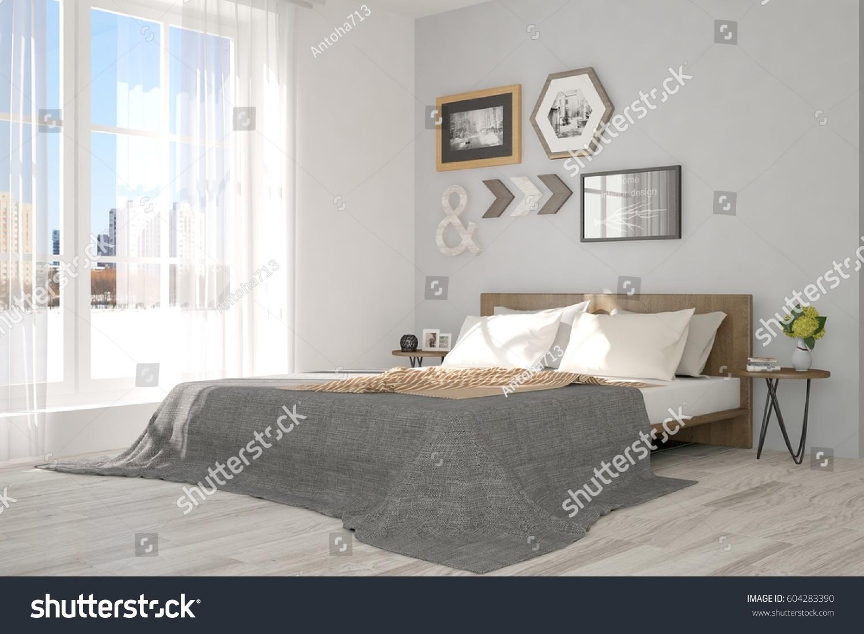 White modern bedroom urban landscape window stock for Urban danish design
