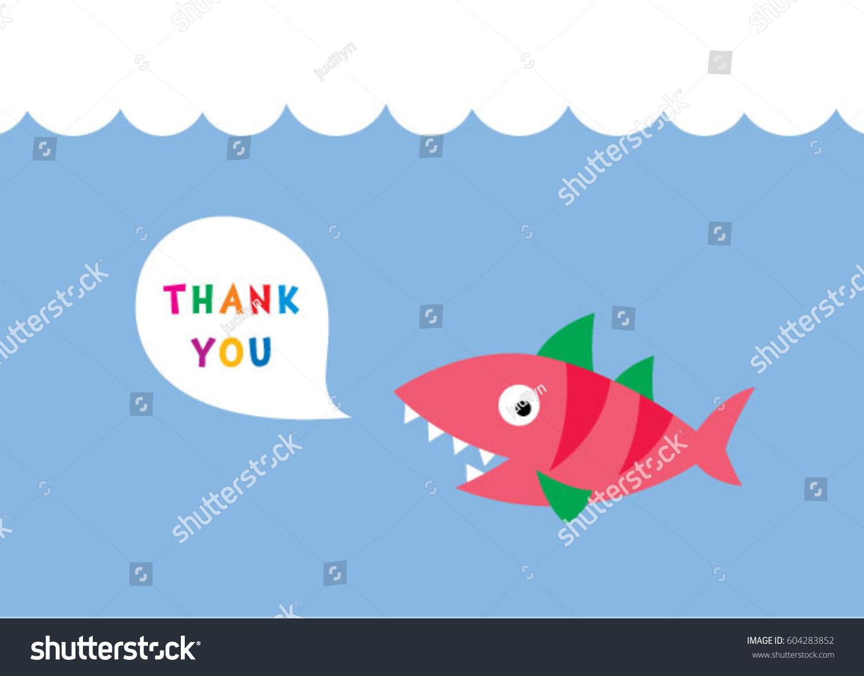 Cute Fish Thank You Card Vector Stock Vector 604283852