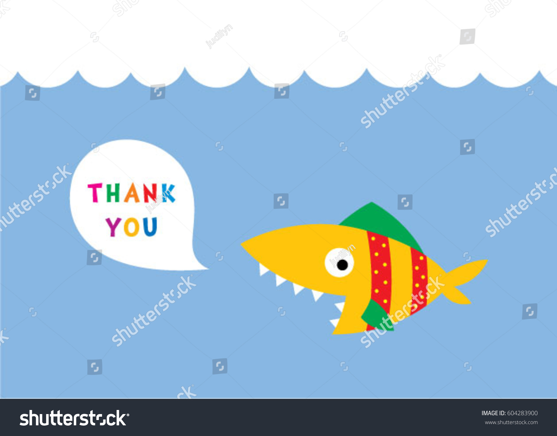 Cute Fish Thank You Card Vector Stock Vector 604283900