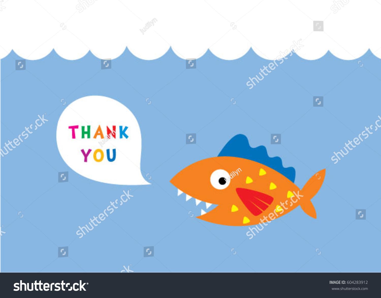 Cute Fish Thank You Card Vector Stock Vector 604283912