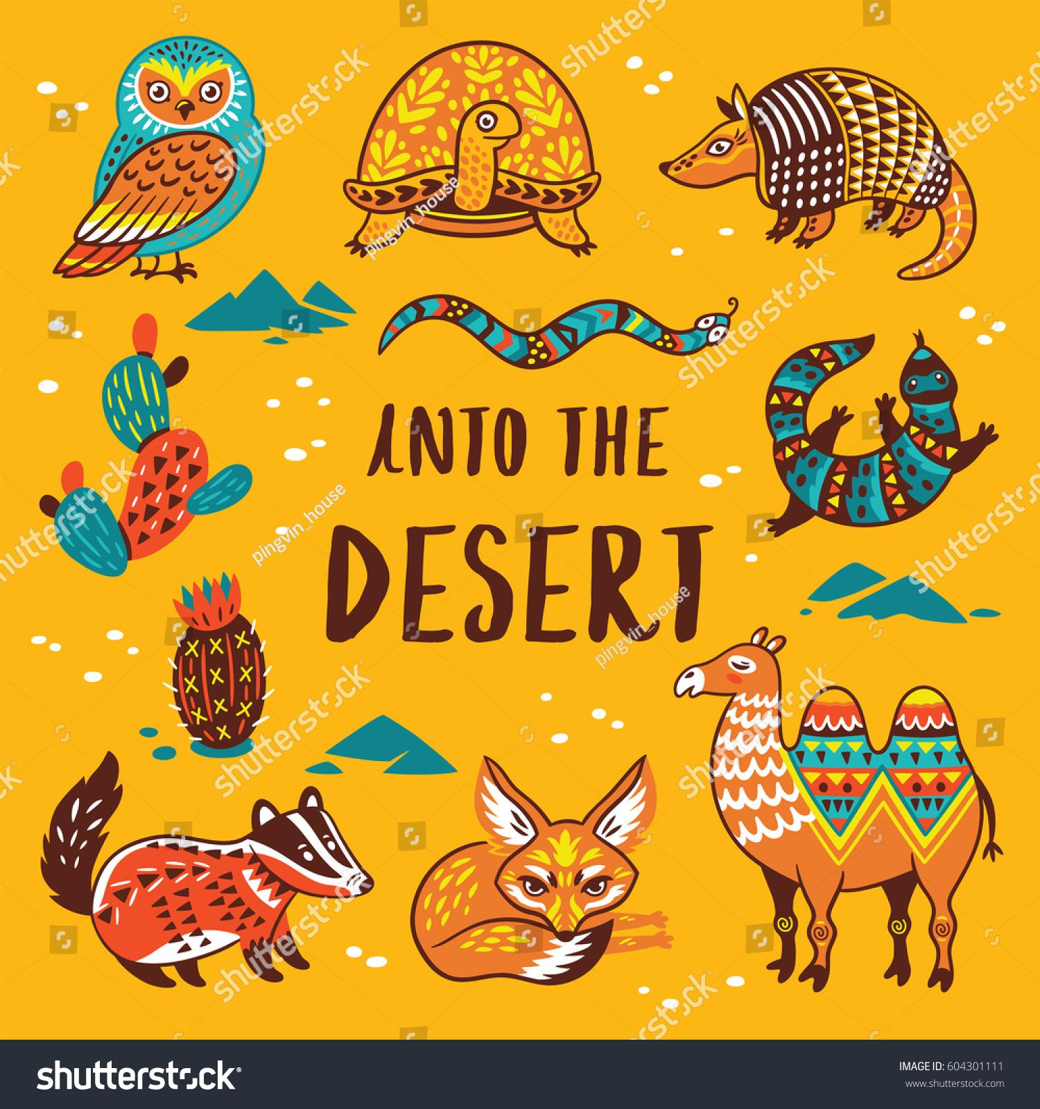 into desert print cartoon characters vector stock vector 604301111 shutterstock - Cartoon Characters To Print