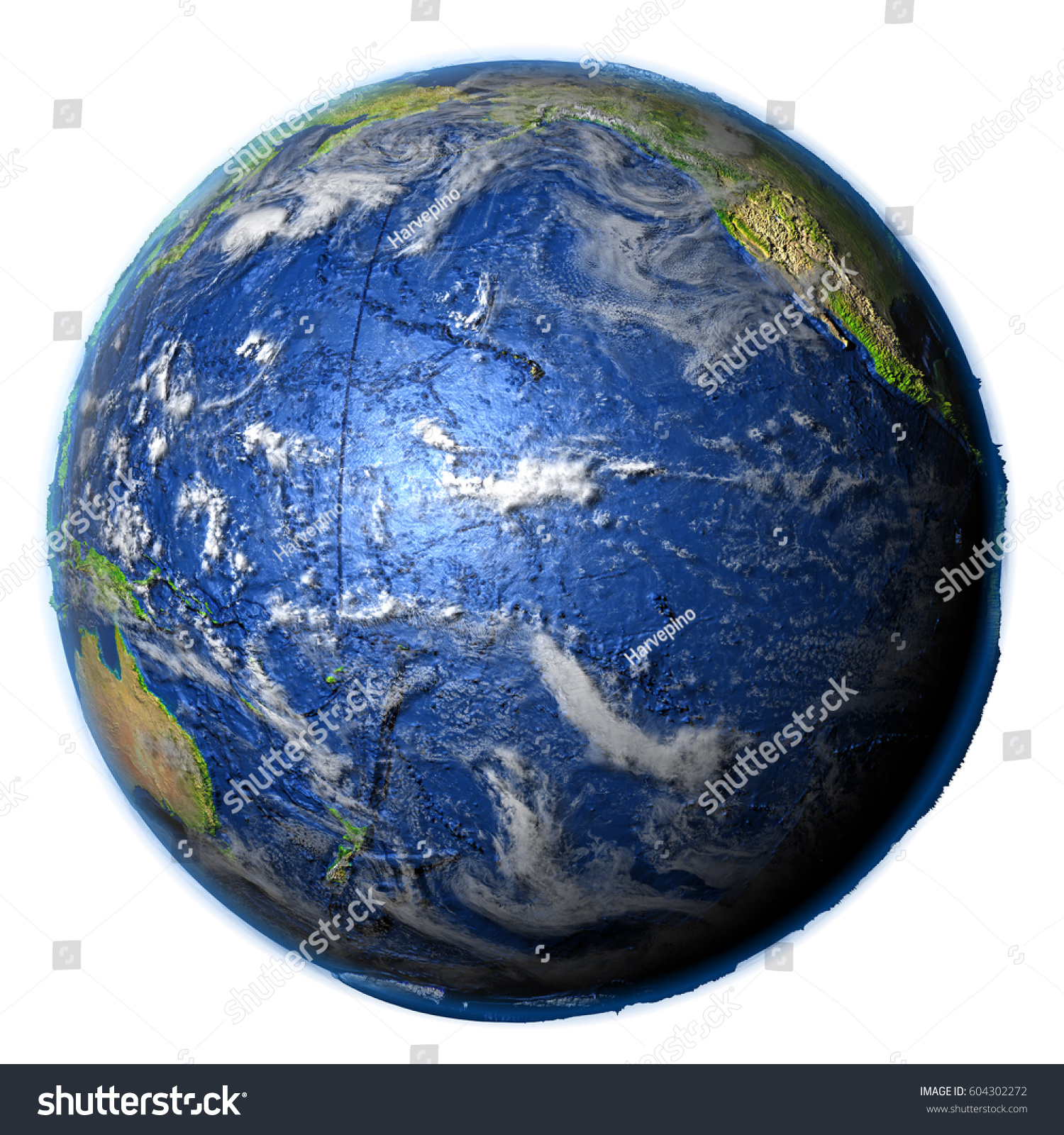 Pacific Ocean On 3 D Model Earth Stock Illustration Royalty Free