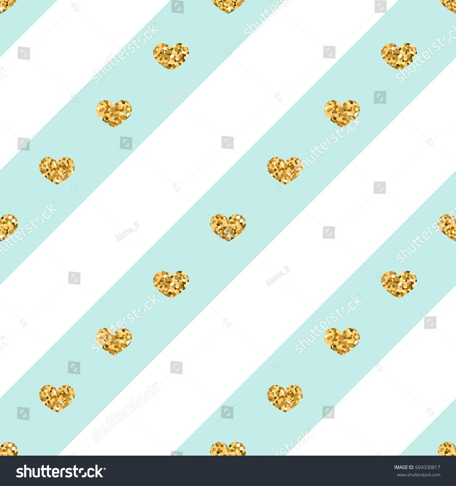 Gold Heart Seamless Pattern Golden Glitter Stock Vector 2018