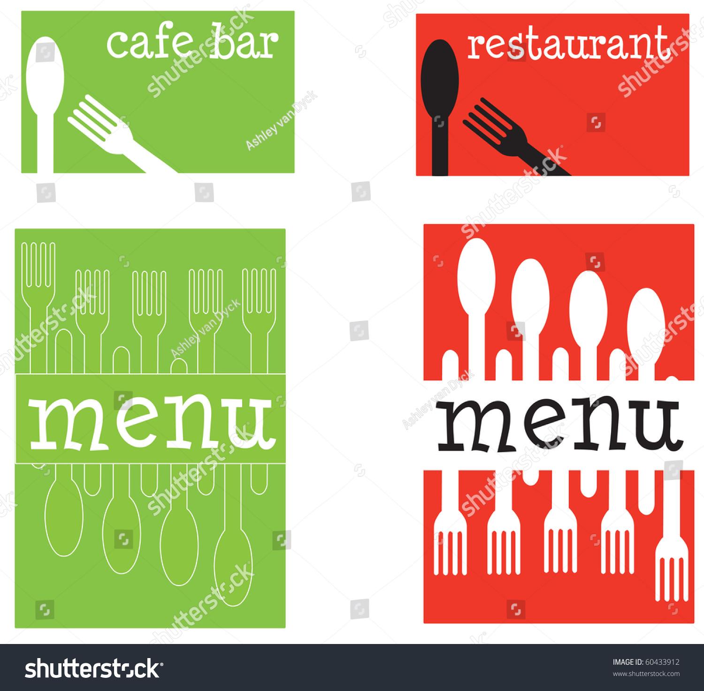 set fun restaurant menu covers business stock vector
