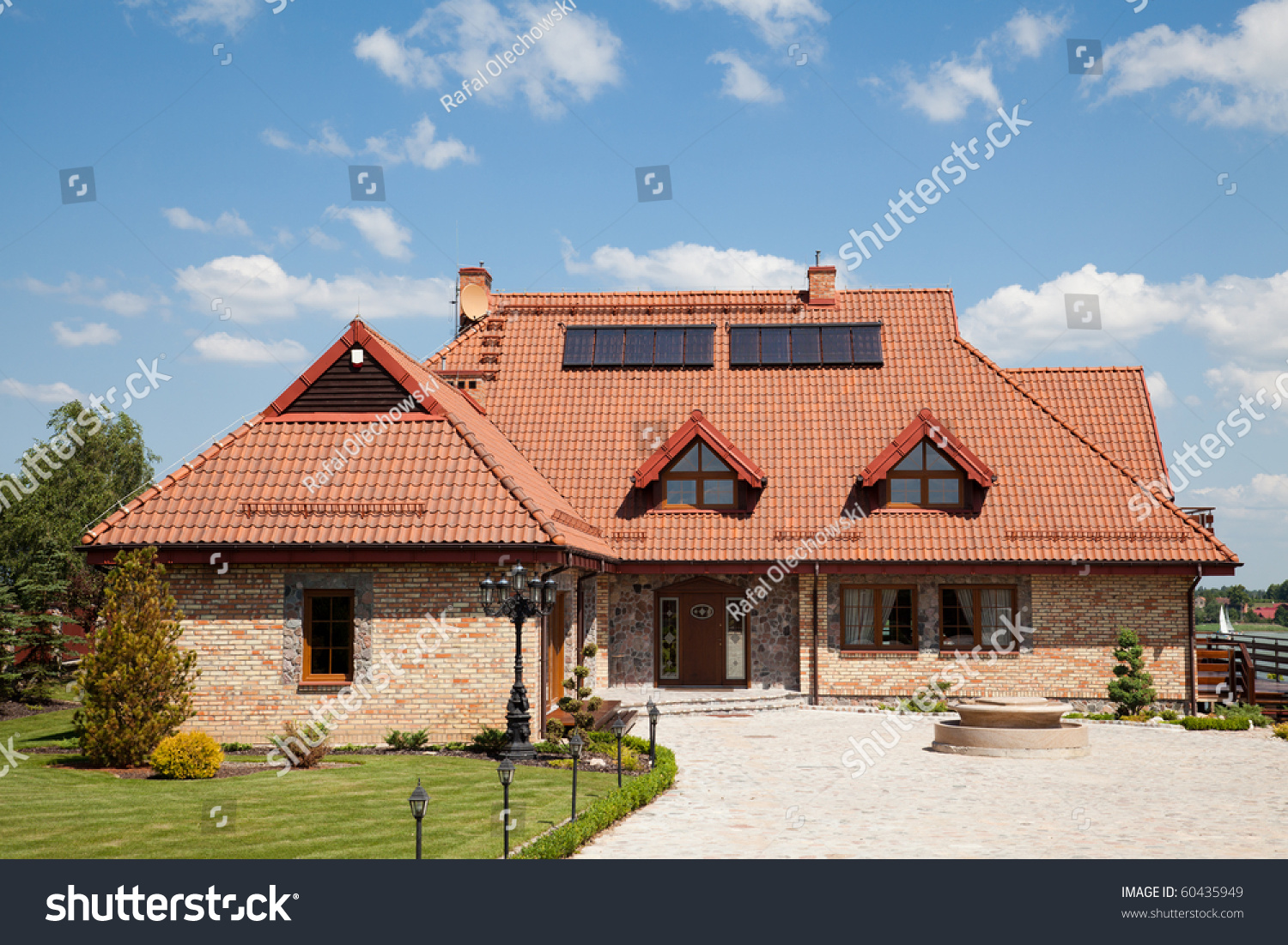 single family house brick red roof stock photo 60435949 shutterstock