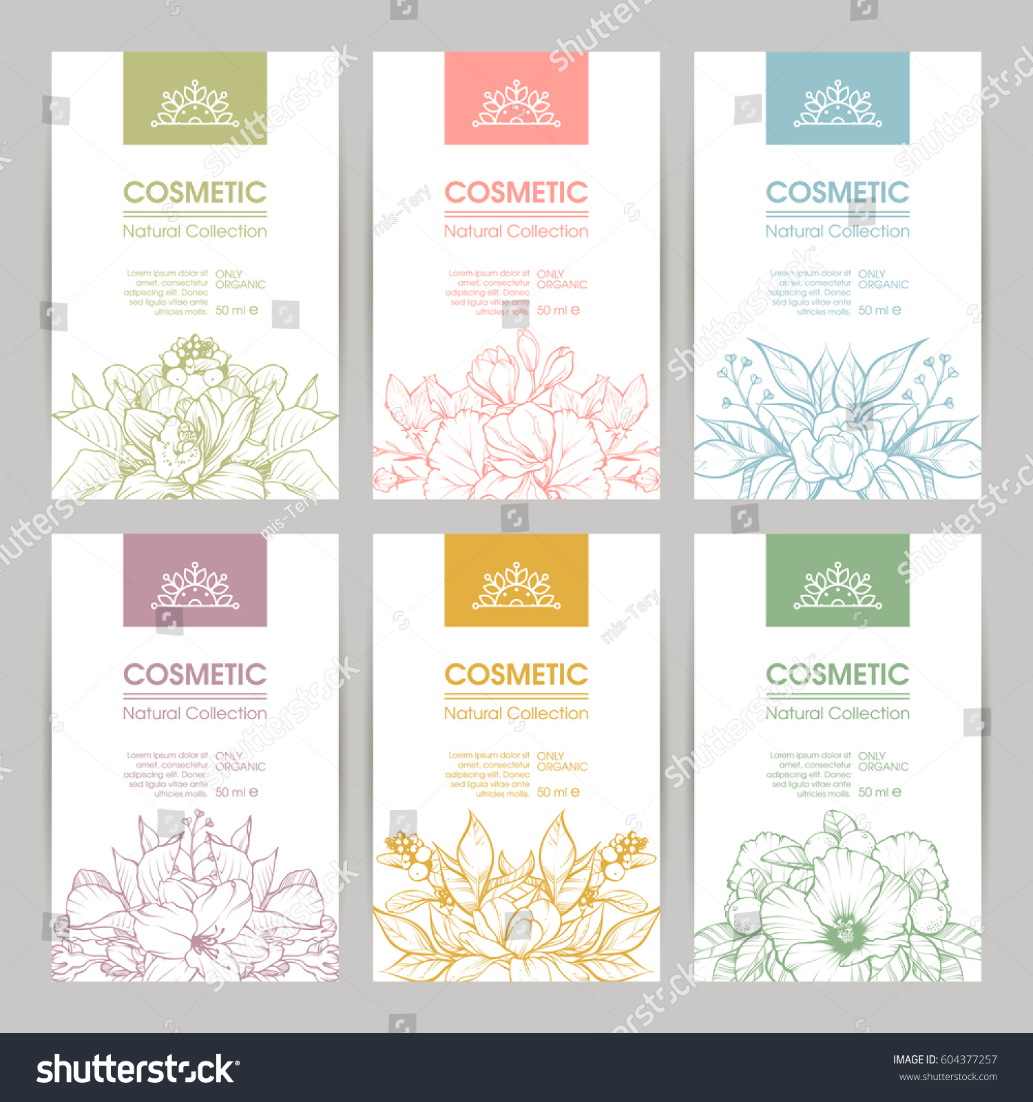 Vector Set Templates Packaging Cosmetic Label Stock Vector Royalty