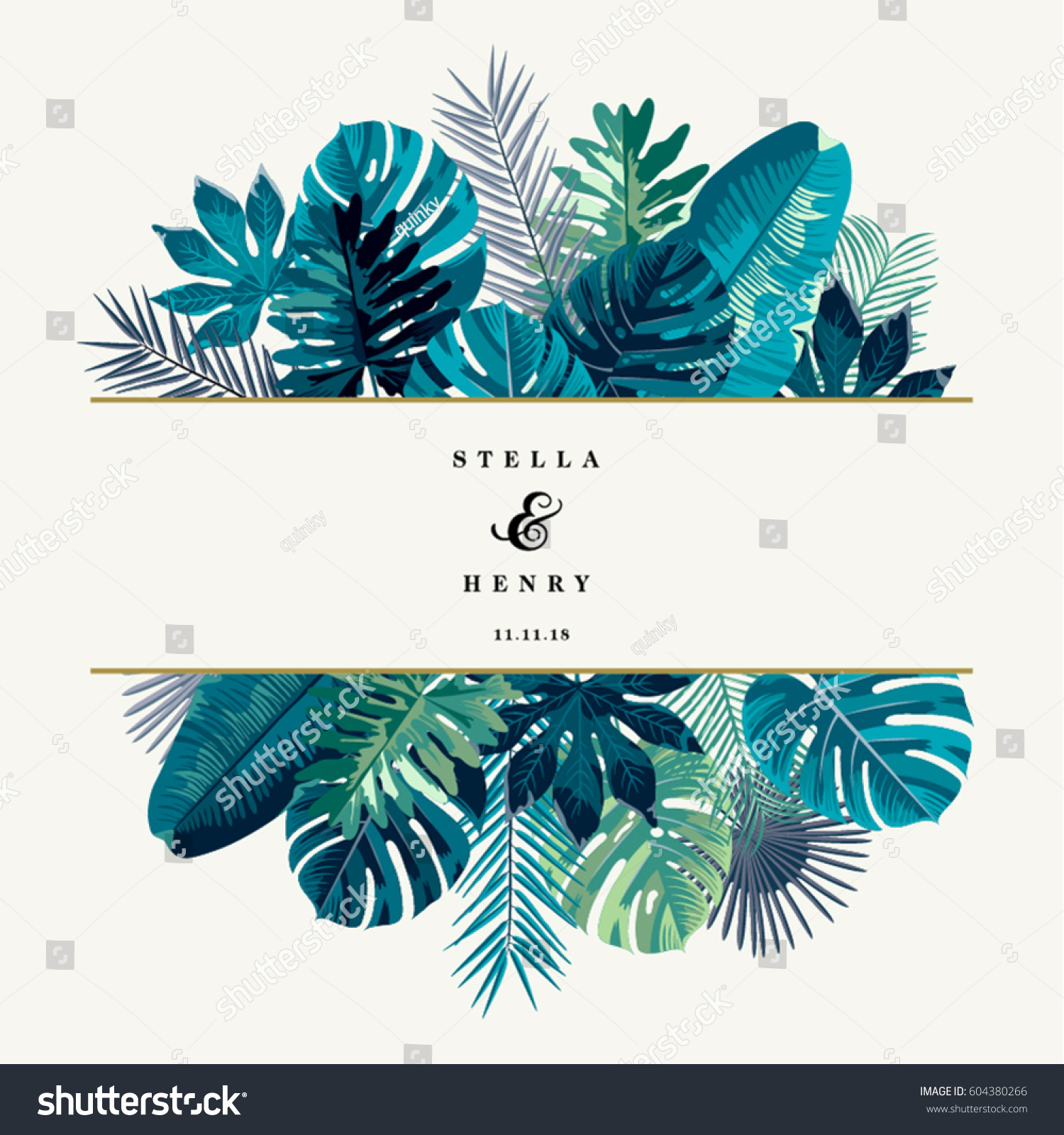 Trendy Summer Tropical Leaves Vector Design #604380266