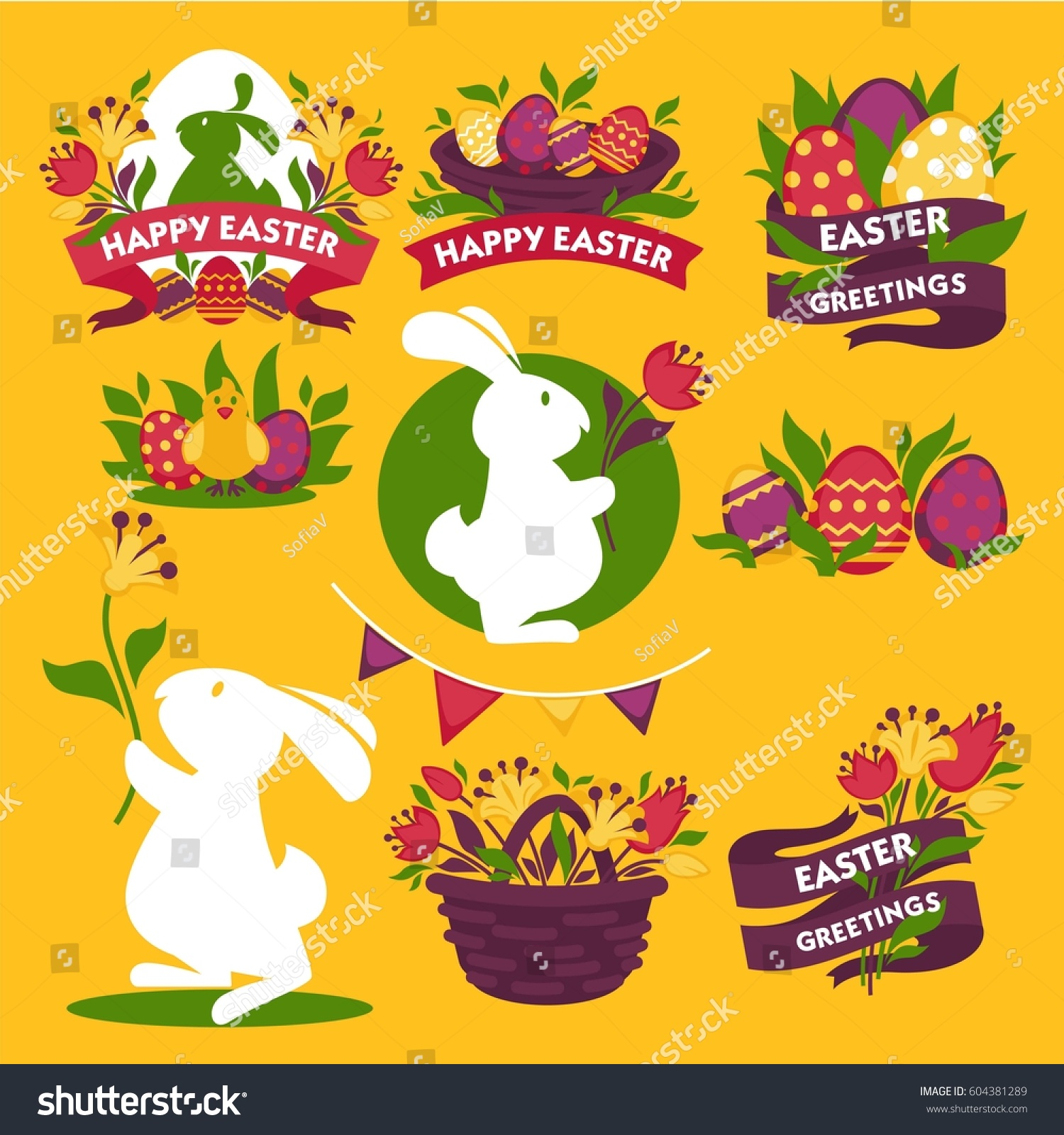 Happy Easter Greeting Logo Signs Colorful Stock Vector Royalty Free