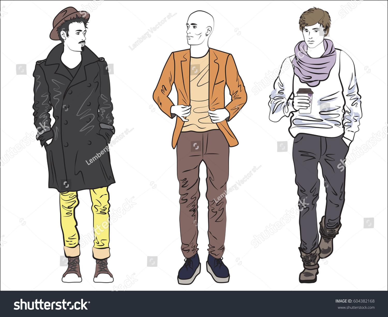 Line Art Fashion : Attractive modern fashionable man set fashion stock