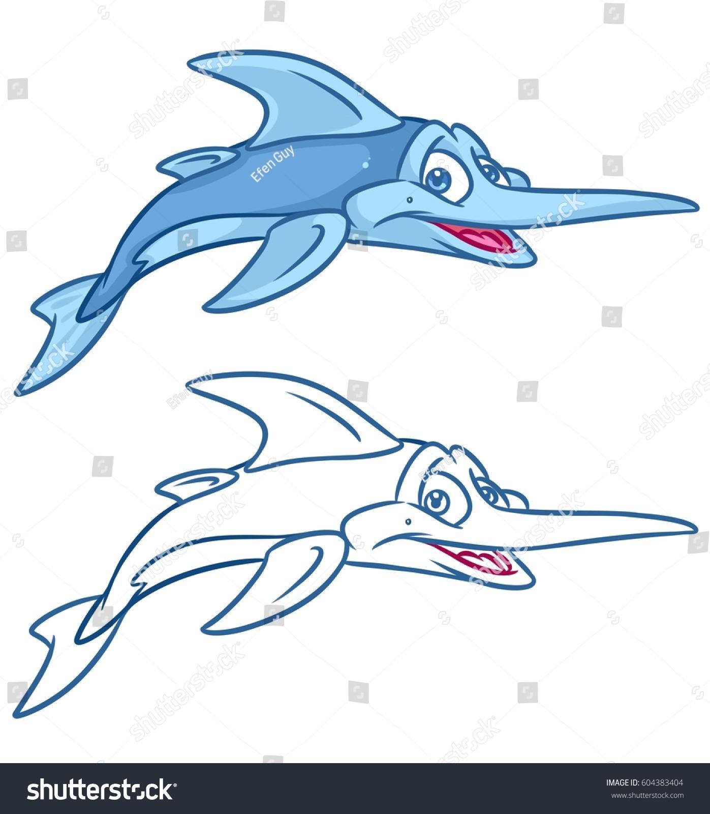 Fish Swordfish Cartoon Illustrations Isolated Image Stock ...