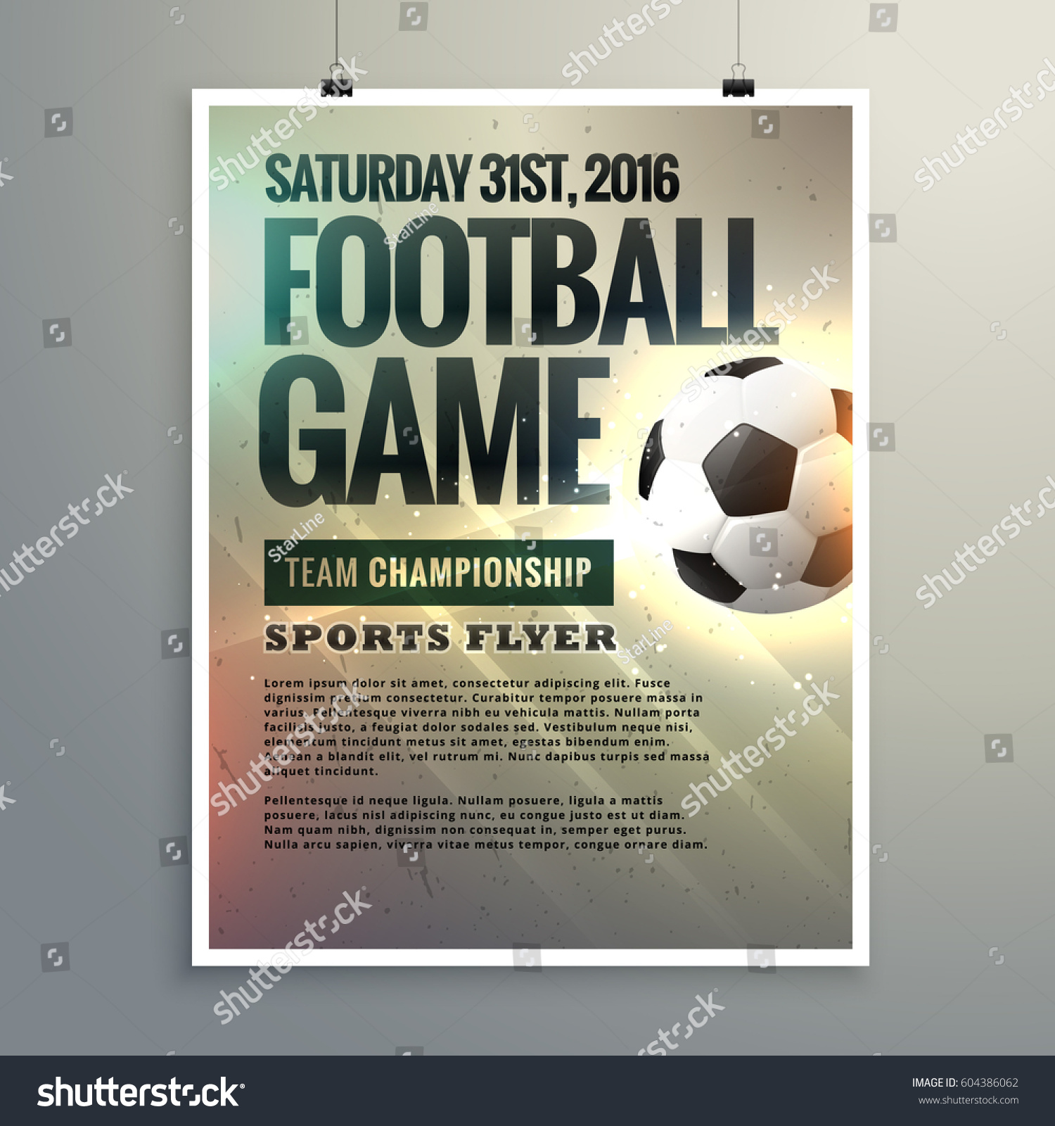 Football Event Flyer Design Tournament Details Vector – Event Flyer Examples
