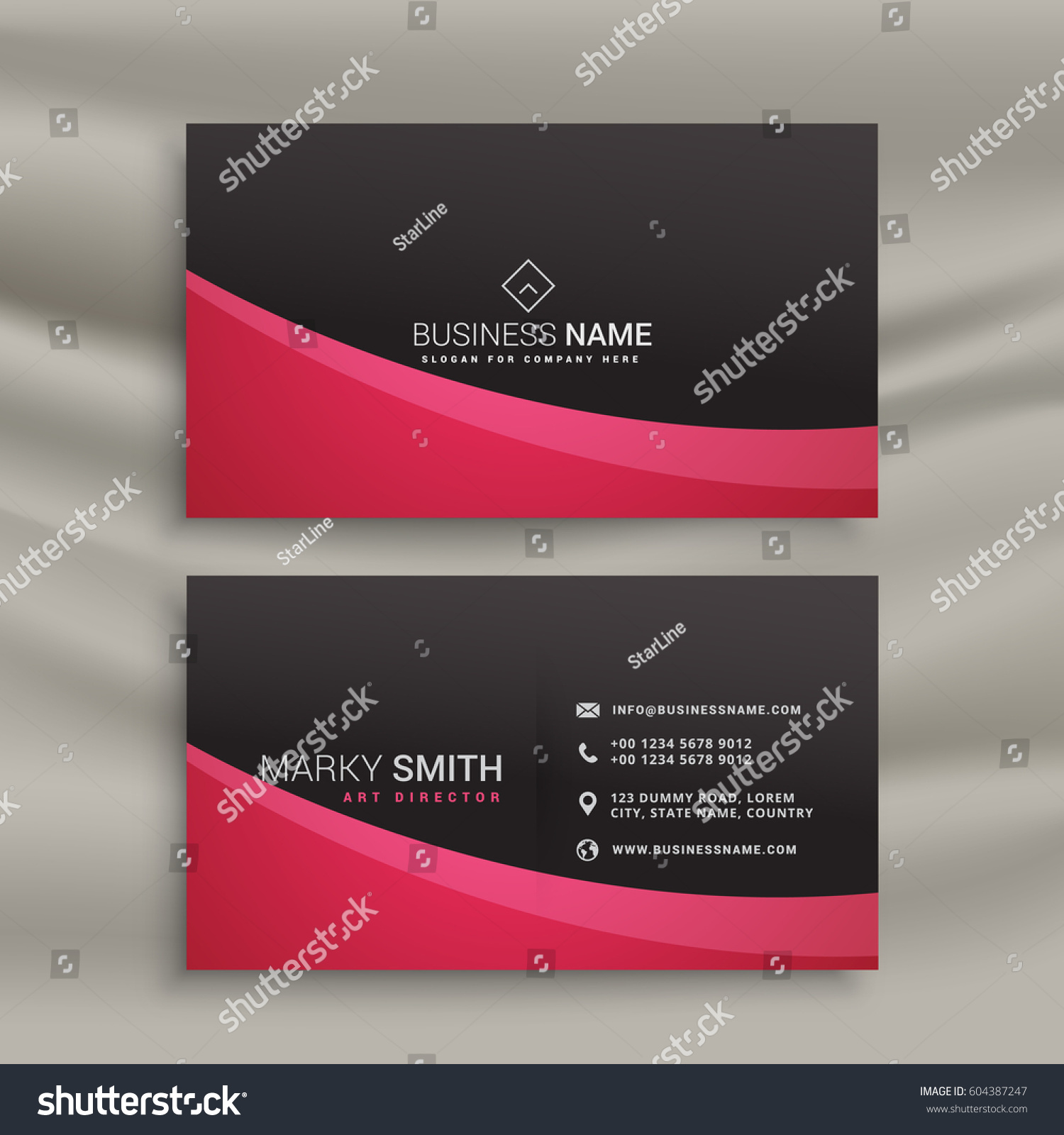 Dark Business Card Design Wavy Shape Stock Vector 604387247 ...