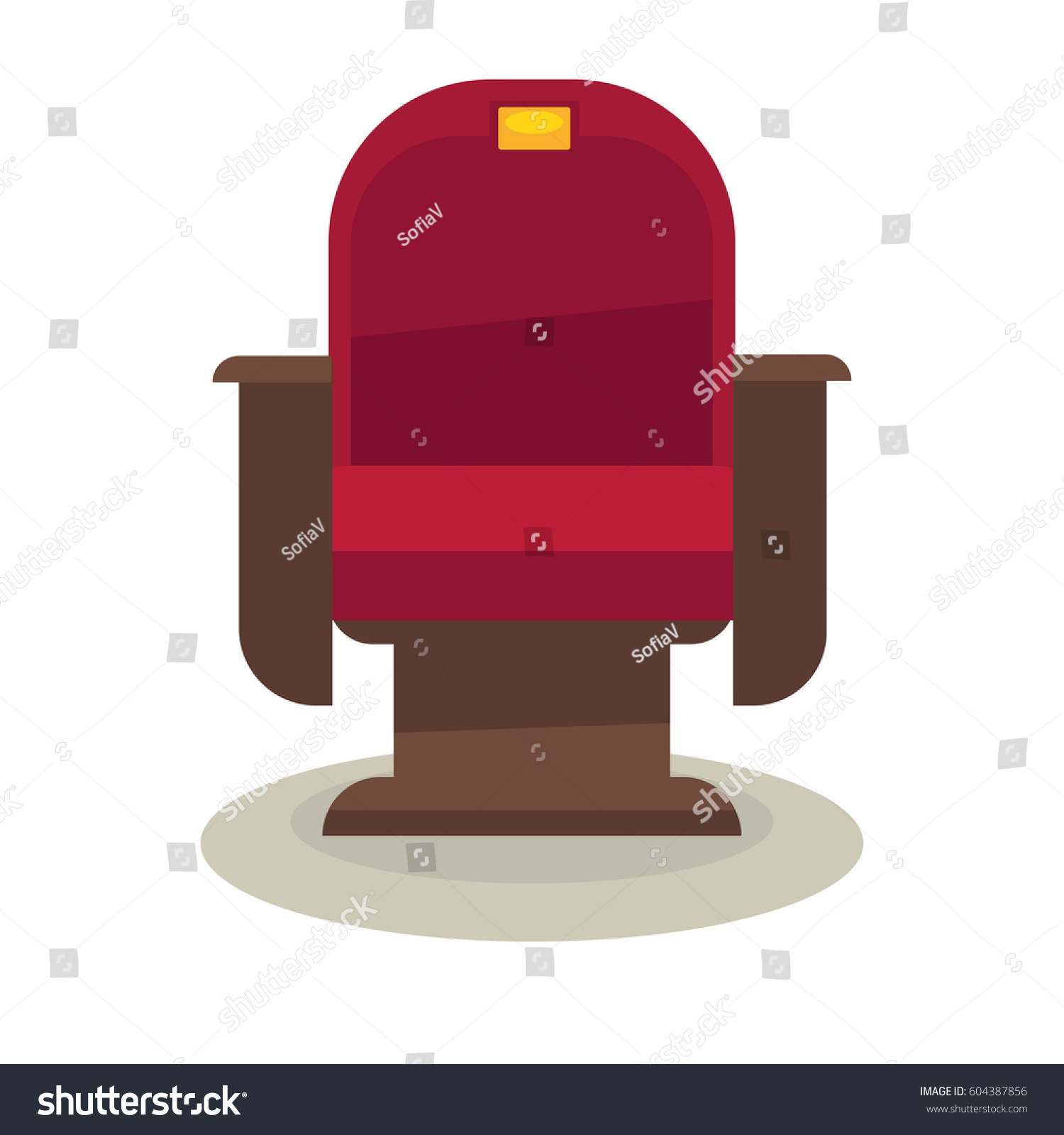 cinema or theatre chair with velvet lining isolated on white background comfortable armchair vector