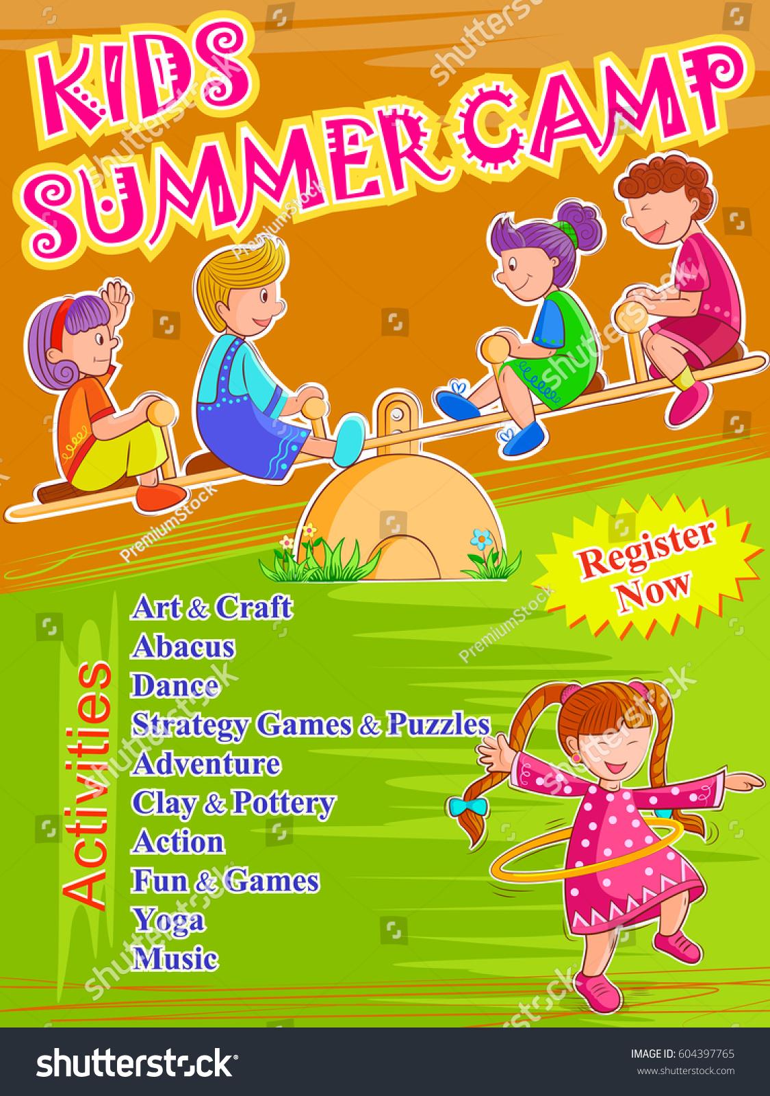 Poster design template - Vector Design Of Banner Poster Design Template For Kids Summer Camp Activities