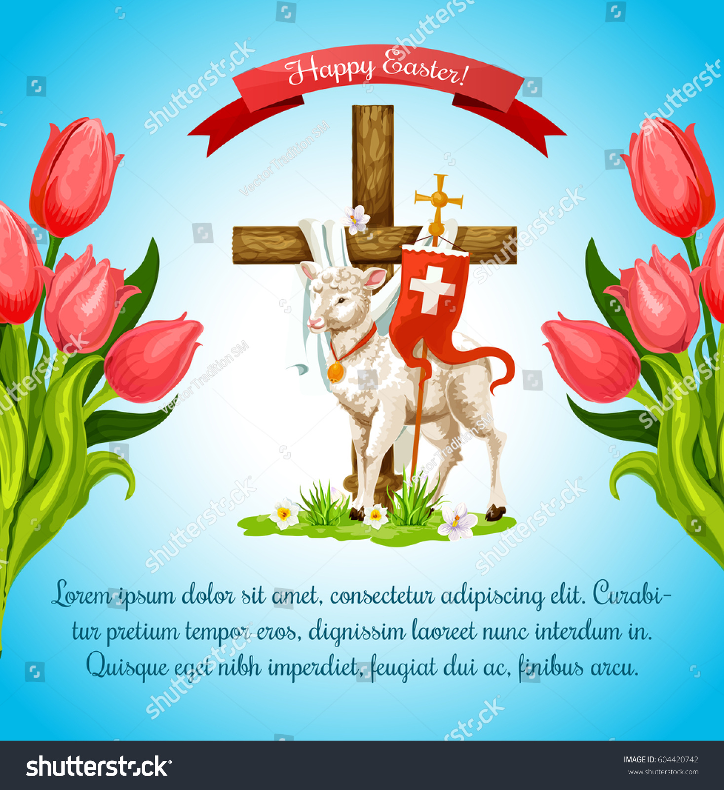 Easter Cross Cartoon Greeting Poster Template Stock Vector Royalty