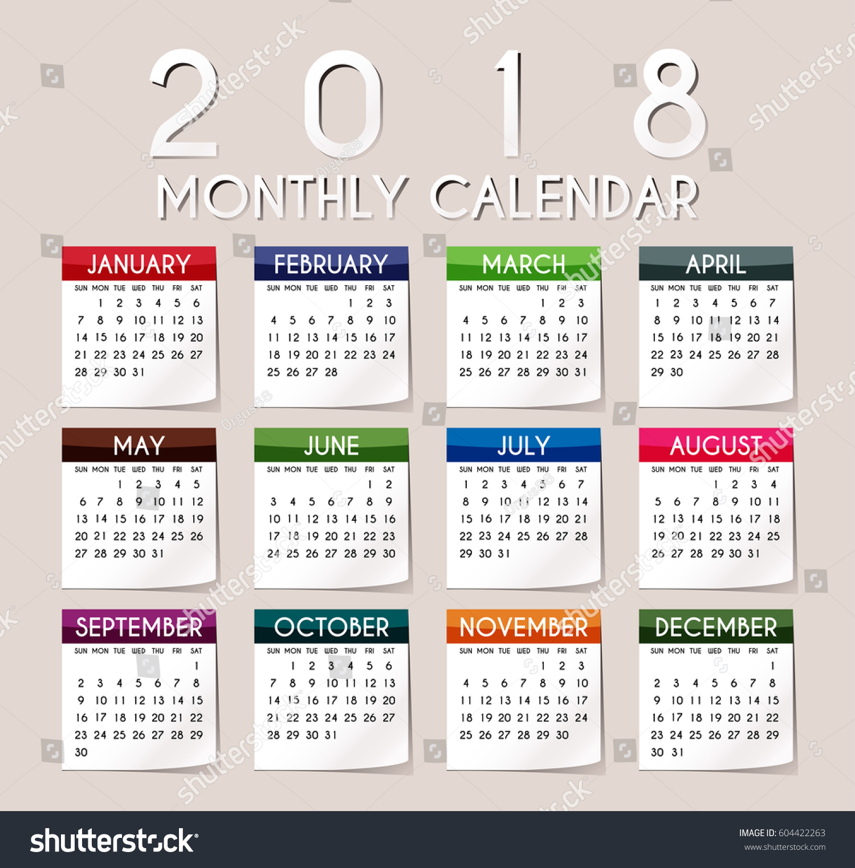 Simple 2018 Year Vector Calendar / 2018 Calendar Design / 2018 Calendar  Vertical   Week Starts