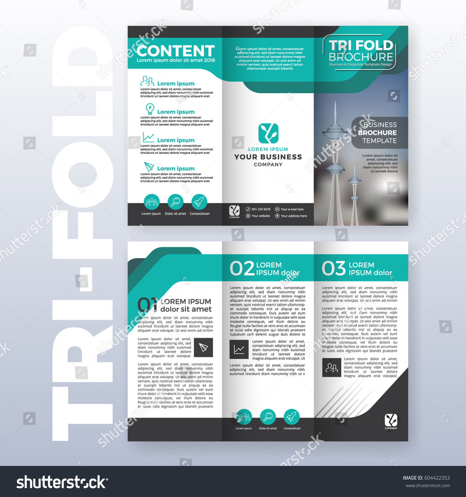 business trifold brochure template design turquoise stock vector