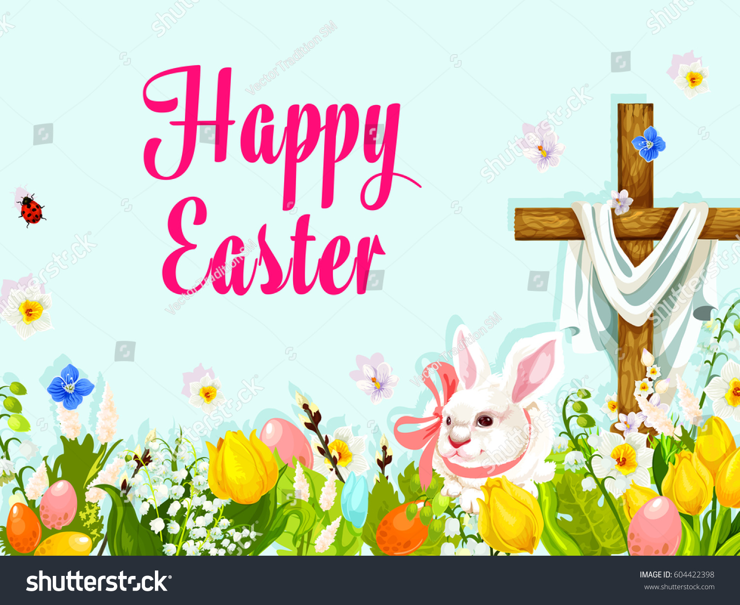 Easter Egg Hunt Rabbit With Cross Greeting Poster Eggs Hidden In Grass Of Spring