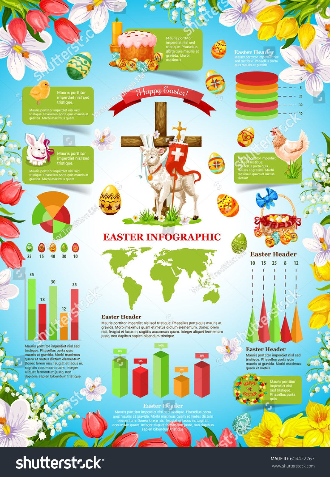 Easter celebration infographic template floral frame stock vector easter celebration infographic template floral frame stock vector 604422767 shutterstock ccuart Gallery