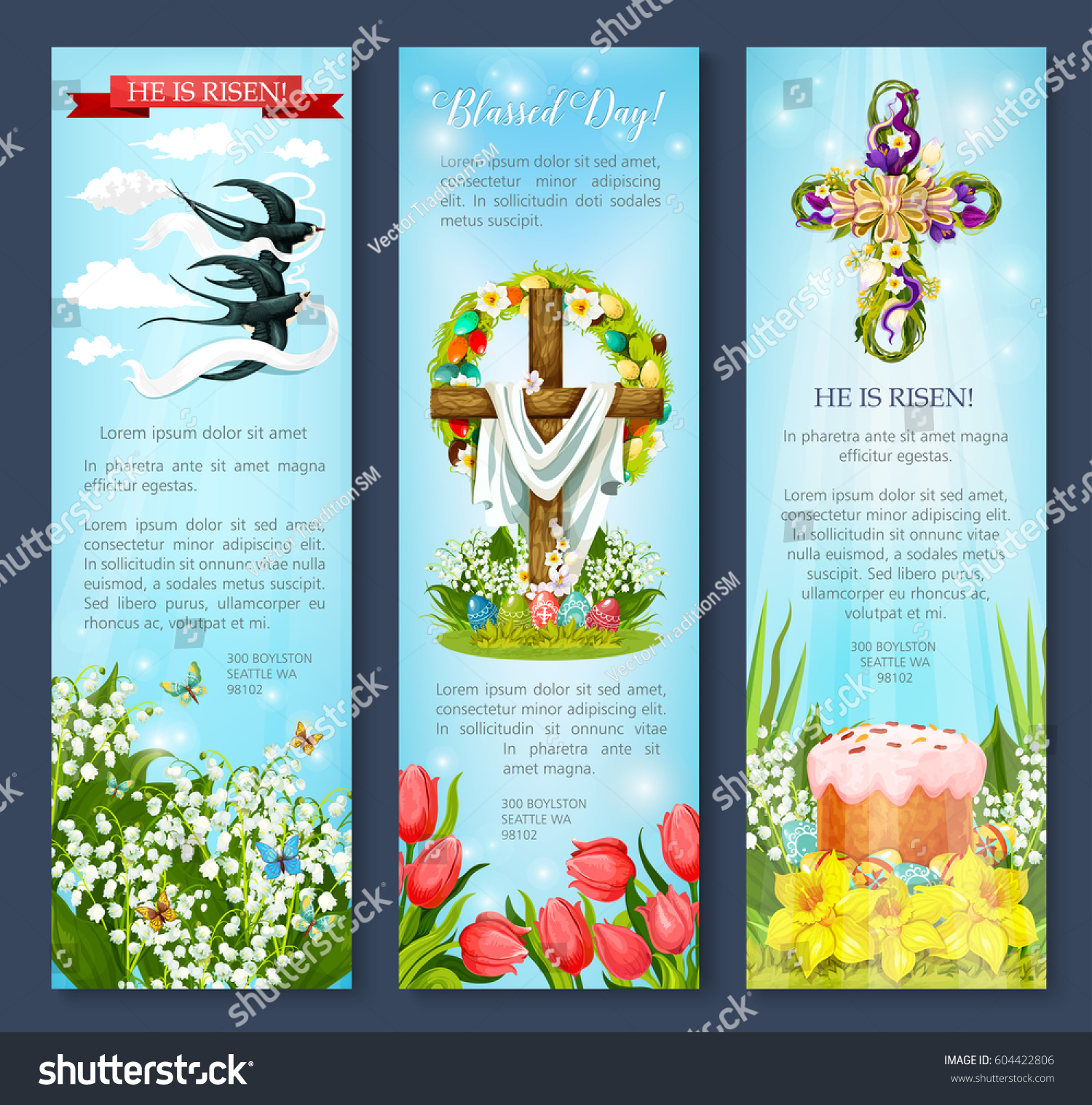 Easter Day Greetings Banner Template Set Stock Vector 604422806