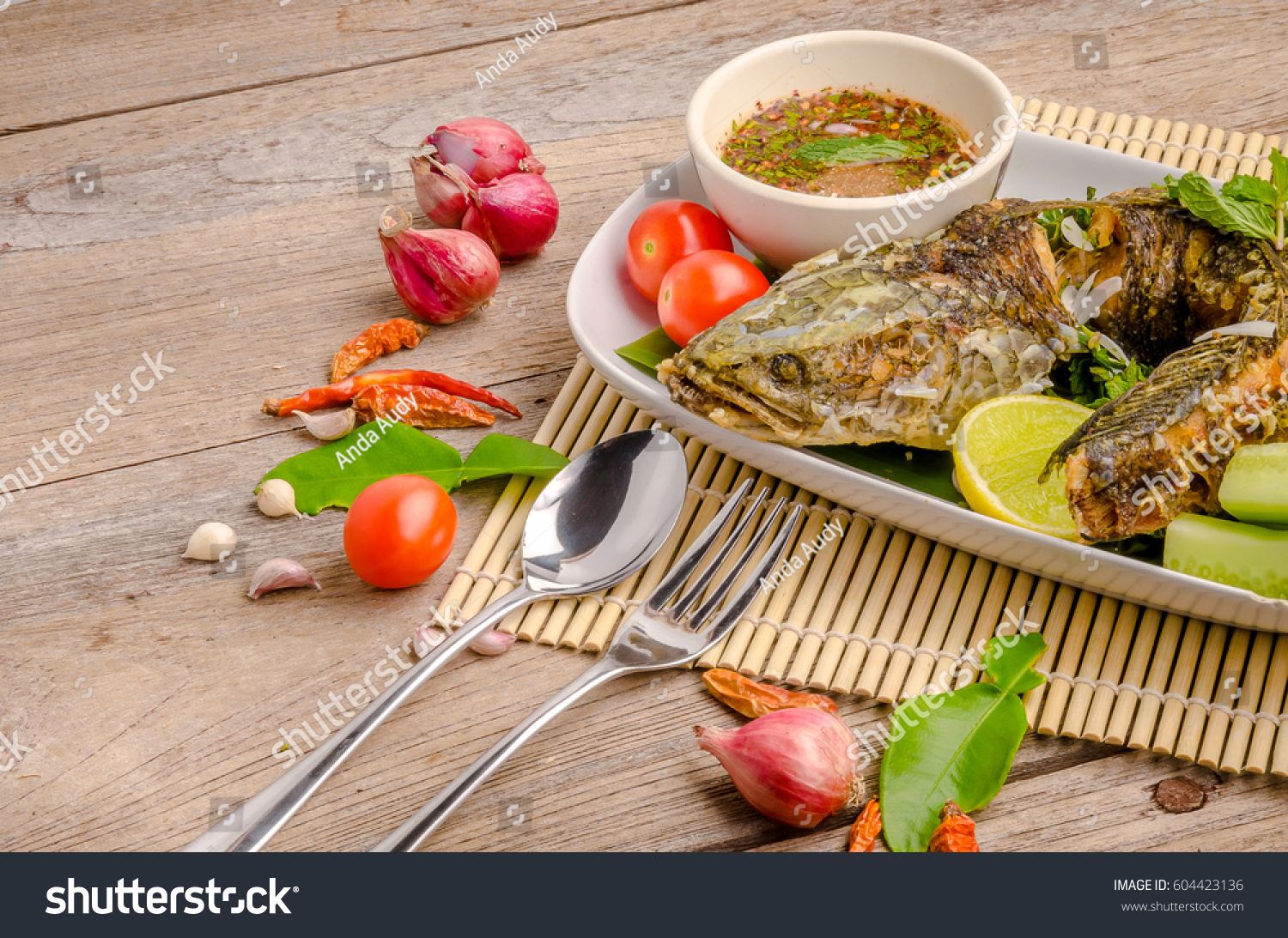Thai fried fish chilli spicy stock photo 604423136 for Fried fish nutrition