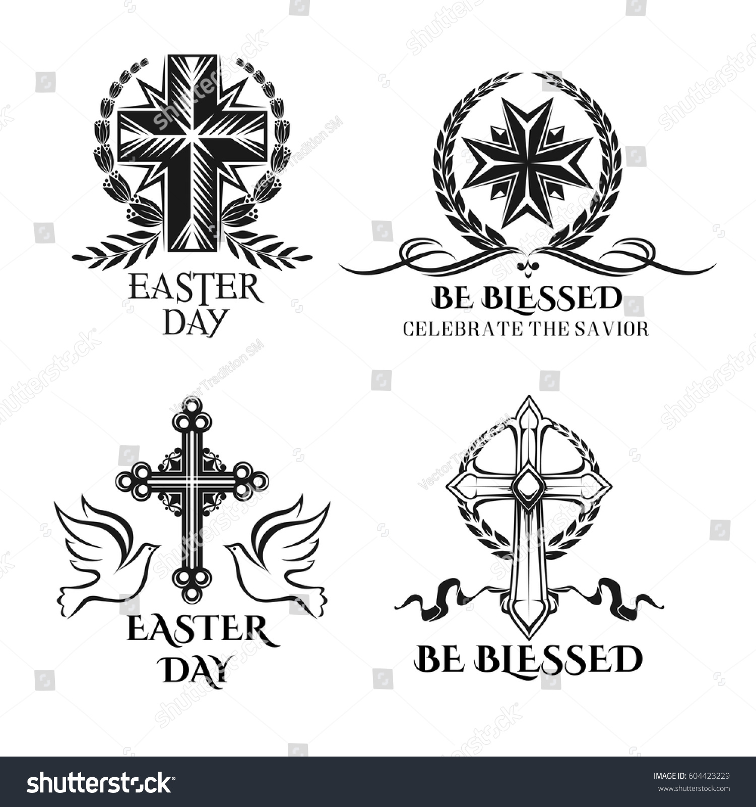 Easter icons crucifix cross ornate symbols vectores en stock easter icons and crucifix cross ornate symbols doves and paschal greeting text be blessed biocorpaavc