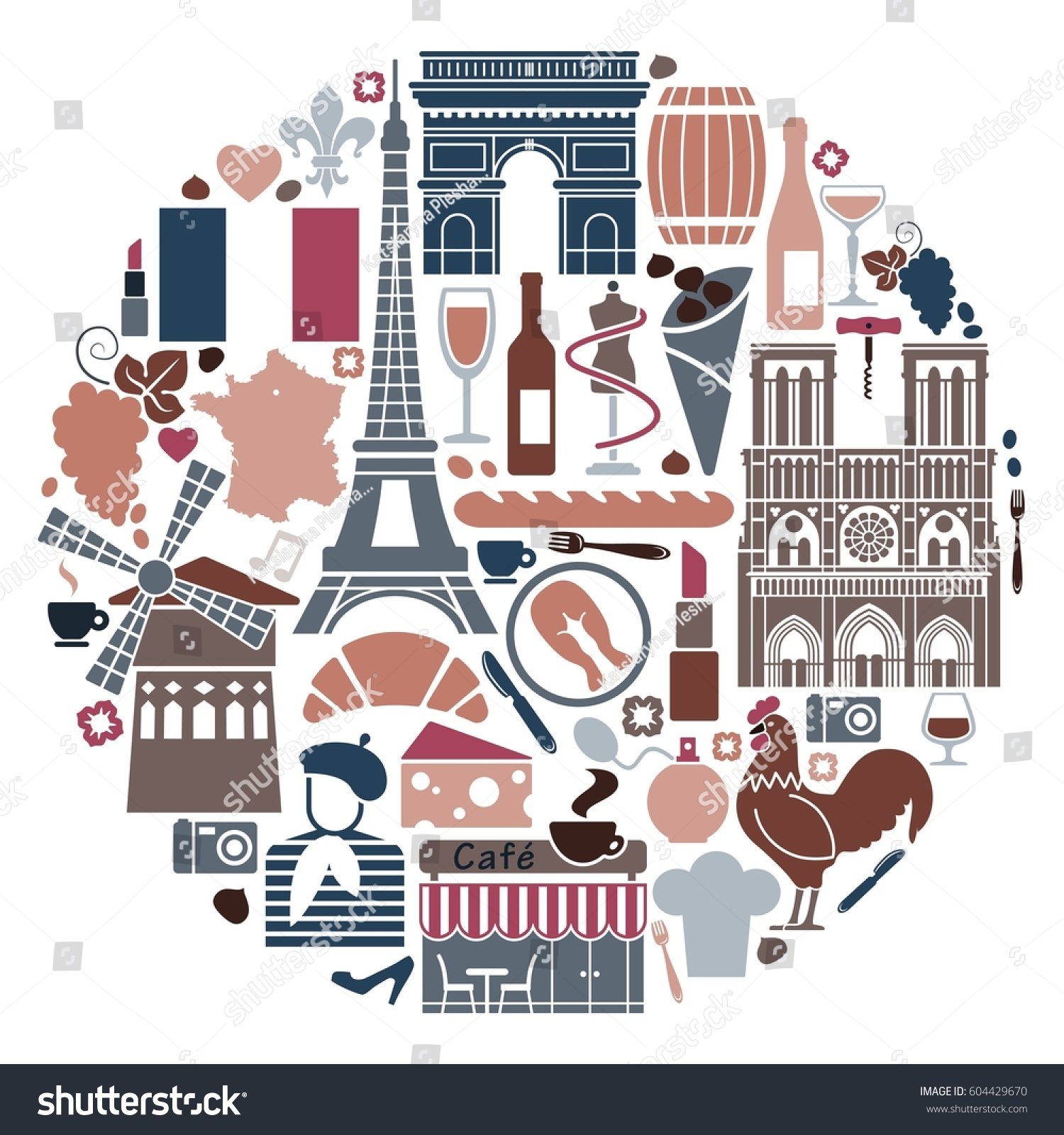 Traditional Symbols French Architecture Cuisine Culture Stock Vector