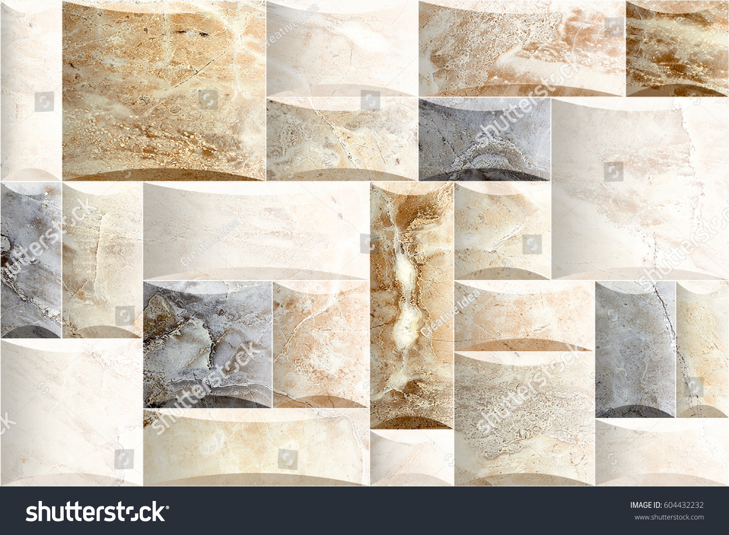 Abstract Marble Wall Tiles Decorative Design Stock Illustration