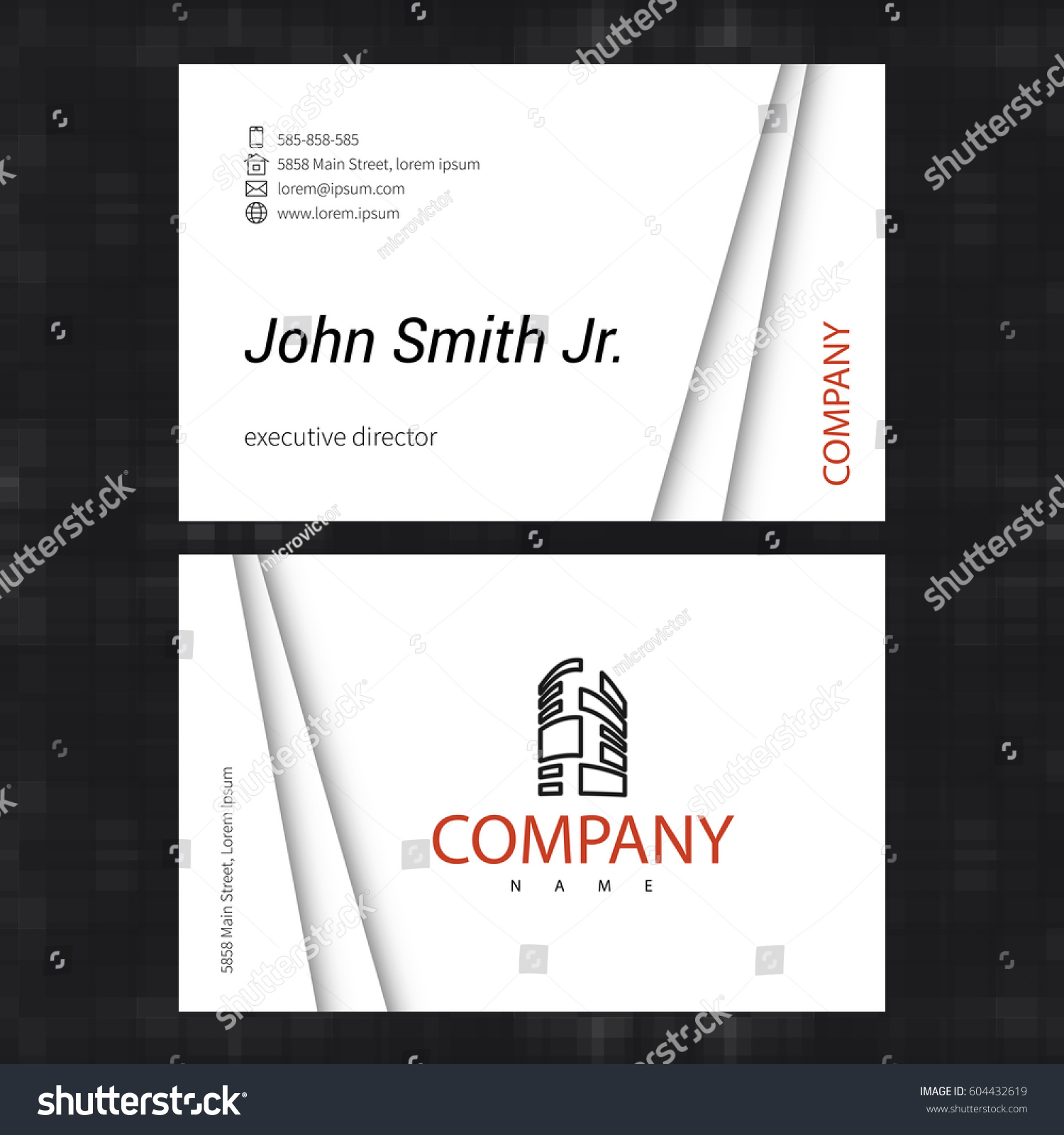 Simple Light Business Card Template Standard Stock Vector 604432619 ...