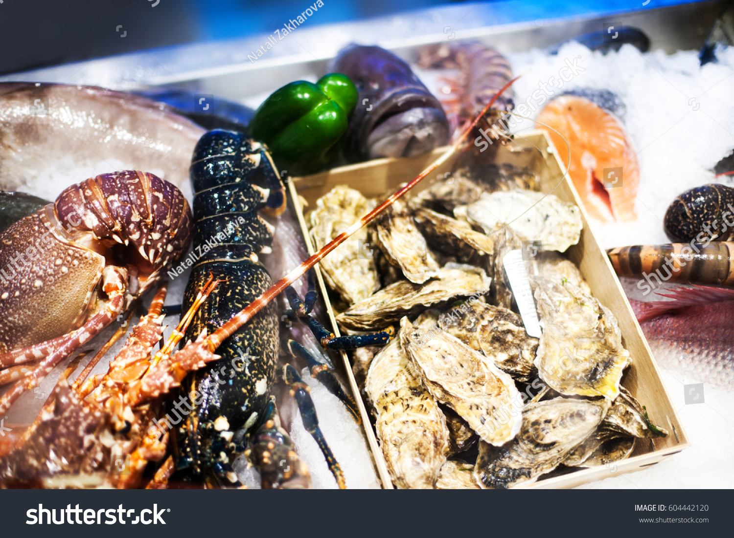 Seafood assortment on ice fish market stock photo for Seafood fish market