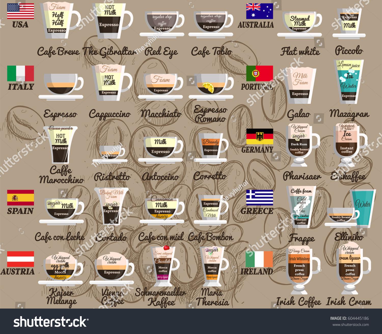 ccefd2ecae8 Coffee Recipes Around World Espresso Regular Stock Vector (Royalty ...